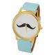 Licht Blauwe Snor Horloge