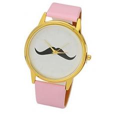 Licht Roze Snor Horloge