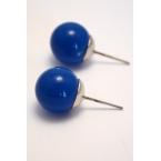 Blauwe Knop Oorbel