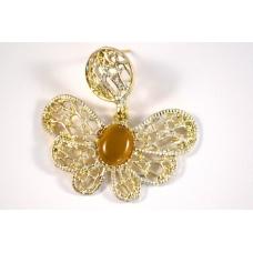 Goud Met Gele Vlinder Oorbel