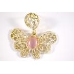Goud Met Licht Roze Vlinder Oorbel