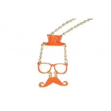 Oranje Man Met Snor Ketting