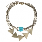Oud Gouden Pyramide En Turquoise Stenen Armband