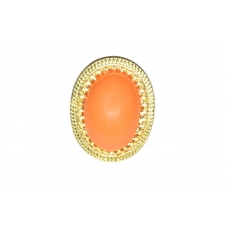 Ovale Oranje Steen Ring