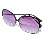 Oversized Zwarte Bril Met Paarse Glazen