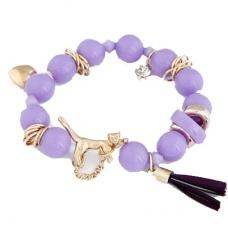Paarse Kralen Met Gouden Bedeltjes Armband