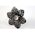 Zwarte Bloem Ring Met Steen
