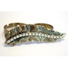 Gouden Blad Double-Finger Ring