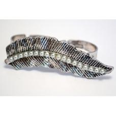 Zilveren Blad Double-Finger Ring