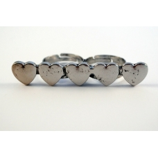 Dubbele Vinger Ring Met Hartjes