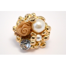 Gouden Parel Ring Met Bloem