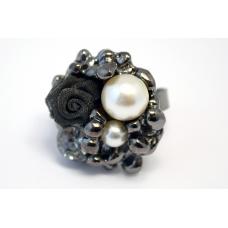 Zilveren Parel Ring Met Bloem