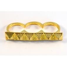 Gouden Drie Vinger Ring Met Pyramides