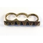 Oud Gouden Drie Vinger Ring Met Pyramides