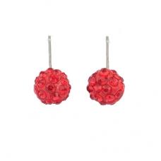 Rode Kristallen Oor Studs
