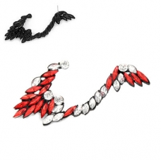 Rode Kristallen Angel Wing Ear Cuff