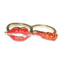 Rode Mond Met Rode Lippenstift Ring