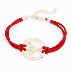 Rode Peace Teken Armband