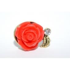 Rode Roos Met Blad Ring