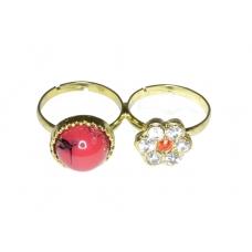 Rode Steen Ring Met Zilveren Bloem Ring