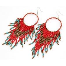 Rood Met Turquoise Kralen Oorbellen
