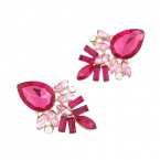 Roze Kristallen Oorbellen