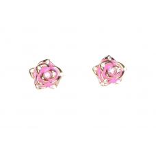 Roze Bloem Met Kristallen Oorbellen