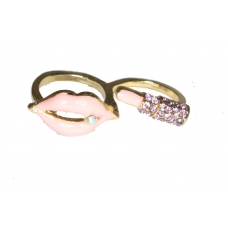Roze Mond Met Roze Lippenstift Ring