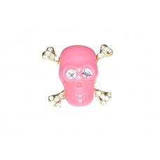 Roze Met Gouden Doodskop Ring