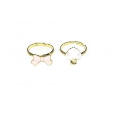 Roze Strik & Roze Paddestoel Ringen Set
