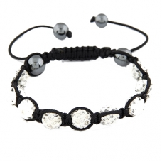 Wit Met Zwarte Shamballa Armband