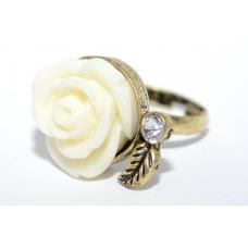 Witte Roos Met Blad Ring