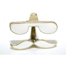 Witte Snor Ring Met Bril