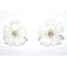 Diamanten Witte Bloem Oorbellen