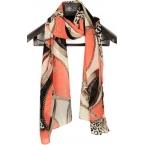 Zalm Kleurige Sjaal Met Print