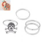 Zilveren Doodskop Knuckle Ringen Set