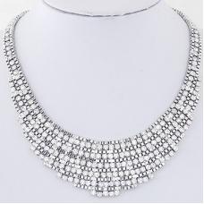 Zilveren Gewoven Kristallen Ketting