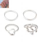 Zilveren Hart & Blad Knuckle Ringen Set