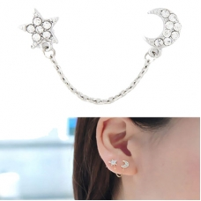 Zilveren Kristallen Zon & Maan Ear Cuff