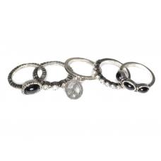 Zilveren 5 Ringen Set Met Peace Teken