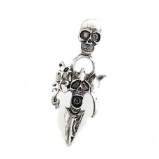 Zilveren Doodskop Met Pin Ring