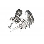 Zilveren Doodskop Met Vleugel Ring