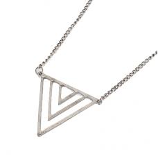 Donker zilveren Driehoeken Ketting