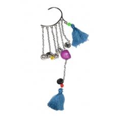 Zilveren Ear Cuff Met Blauw & Paarse Attributen