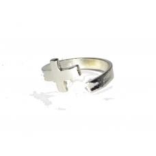 Zilveren Gebogen Kruis Ring