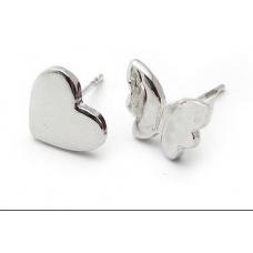 Zilveren Hart & Vlinder Oorbellen
