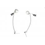 Zilveren Ketting Ear Cuff Met Zilveren Doodskop