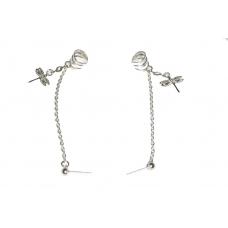 Zilveren Ketting Ear Cuff Met Zilveren Libelles
