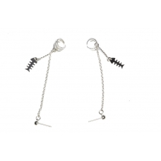 Zilveren Ketting Ear Cuff Met Zilveren Vissengraat