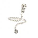 Zilveren Kristallen Slang Vinger Ring